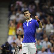 Roger Federer, Switzerland, celebrates winning the Men's Singles Final against Novak Djokovic, Serbia, during the US Open Tennis Tournament, Flushing, New York, USA. 13th September 2015. Photo Tim Clayton