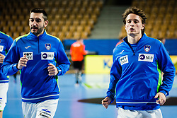 Jure Dolenec and Dragan Gajic of Slovenia during Men's EHF EURO 2022 Qualifiers between national teams Slovenia and Netherlands in Arena Zlatorog, Celje, Slovenia on 10. January, 2021. Photo by Grega Valancic
