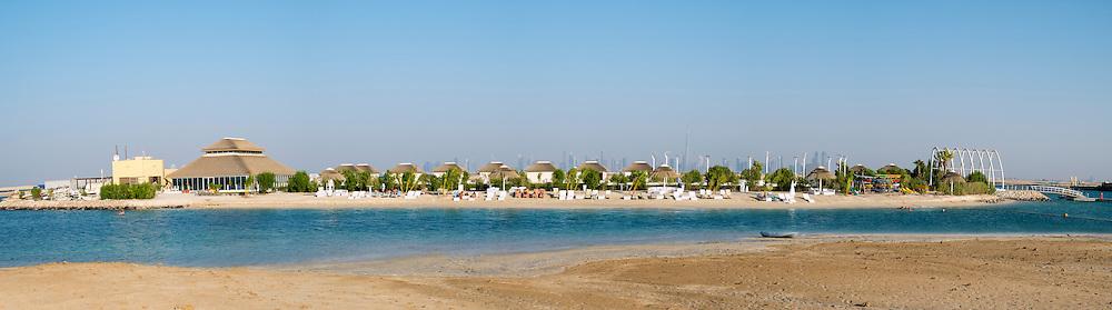 Panoramic view of The Island Lebanon beach resort on a man made island, part of The World off Dubai coast in  United Arab Emirates