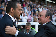 Rafa Benitez, the Newcastle United manager talking to Slavisa Jokanovic, the Fulham manager before k/o. Skybet EFL championship match, Fulham v Newcastle Utd at Craven Cottage in Fulham, London on Friday 5th August 2016.<br /> pic by John Patrick Fletcher, Andrew Orchard sports photography.
