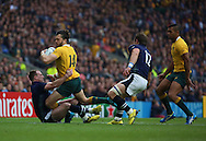 Australia's Adam Ashley-Cooper getting tackled by Scotland's Stuart Hogg during the Rugby World Cup Quarter Final match between Australia and Scotland at Twickenham, Richmond, United Kingdom on 18 October 2015. Photo by Matthew Redman.