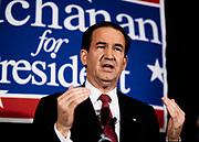 1992 Republican Presidential candidate Pat Buchanan speaks at a campaign rally in Marietta, Georgia.