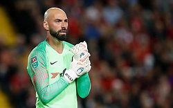 """Chelsea goalkeeper Willy Caballero during the Carabao Cup, Third Round match at Anfield, Liverpool. PRESS ASSOCIATION Photo. Picture date: Wednesday September 26, 2018. See PA story SOCCER Liverpool. Photo credit should read: Martin Rickett/PA Wire. RESTRICTIONS: EDITORIAL USE ONLY No use with unauthorised audio, video, data, fixture lists, club/league logos or """"live"""" services. Online in-match use limited to 120 images, no video emulation. No use in betting, games or single club/league/player publications."""