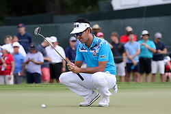 September 21, 2018 - Atlanta, GA, U.S. - ATLANTA, GA - SEPTEMBER 21: Kevin Na prepares for his putt on the 3rd hole during the second round of the PGA Tour Championship on September 21, 2018, at East Lake Golf Club in Atlanta, GA. (Photo by Michael Wade/Icon Sportswire) (Credit Image: © Michael Wade/Icon SMI via ZUMA Press)