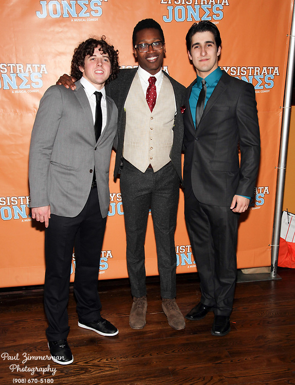 """NEW YORK, NY - DECEMBER 14:  (L-R) Teddy Toye, Ato Blankson-Wood and Alexander Aguilar attend the """"Lysistrata Jones"""" Broadway opening night after party at the New Liberty Theatre on December 14, 2011 in New York City.  (Photo by Paul Zimmerman/WireImage)"""
