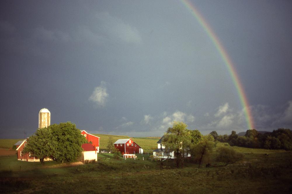 Rainbow over farm, Berks Co., PA