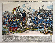 Franco-Prussian War 1870-1871. Battle of Bapaume 3 January 1871. French Army of the North under General Faidherbe, centre,  attacking Prussian 1st army. Successful at first, French did not press advantage. Prussian victory. Coloured woodcut.