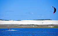 Kite surfing on prainha lagoon near fortaleza ceara in brazil