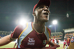 © Licensed to London News Pictures. 07/10/2012. West Indian captain  Darren Sammy celebrates during the lap of honour during the World T20 Cricket Mens Final match between Sri Lanka Vs West Indies at the R Premadasa International Cricket Stadium, Colombo. Photo credit : Asanka Brendon Ratnayake/LNP