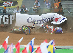 May 12, 2018 - Warsaw, Poland - Emil Sayfutdinov (RUS), Krzysztof Kasprzak (POL),  crash during 1st round of Speedway World Championships Grand Prix Poland in Warsaw, Poland, on 12 May 2018. (Credit Image: © Foto Olimpik/NurPhoto via ZUMA Press)
