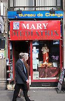 Religious shop, in Dublin Ireland. The window display includes a sacred heart statue and posters for the Vote No to the Lisbon Treaty campaign.