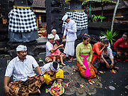 """08 AUGUST 2017 - UBUD, BALI, INDONESIA: A Hindu priest blesses members of the family at the end of a ceremony to honor their family temple in Ubud, Bali. Balinese Hindus have a 210 day calender and every almost every family compound on Bali has a family temple. Once a year (or every 210 days) families celebrate the """"birthday"""" of their temple with a ceremony.     PHOTO BY JACK KURTZ"""