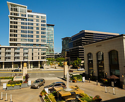 North America, United States, Washington, Bellevue. High-end shopping including Hermes and Neiman-Marcus at The Bravern Building.