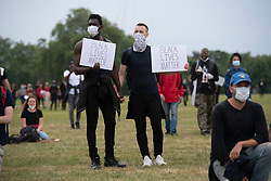 © Licensed to London News Pictures. 03/06/2020. London, UK. Protesters take part in a demonstration organised by group Black Lives Matter in Hyde Park for the American George Floyd who died whilst being arrested by US policemen Derek Chauvin. His death has caused civil unrest in some US cities. Photo credit: Ray Tang/LNP