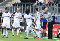 fotball, tippeliga, eliteserien, start, strømsgodset  14.september 2014<br /> Kamal Issah, Stabæk<br /> Giorgi Gorozia, Stabæk<br /> Bob Bradley, Stabæk<br /> Foto: Ole Fjalsett