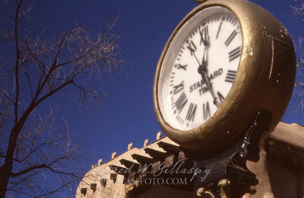 Downtown Santa Fe, New Mexico — Street Clock