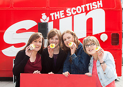 l-r , Elaine Tully,  Jenni Henderson, Orla Mulligan and Rachel Bowie. The Vigo Thieves perform at the T in the Park Promo at QMU, Queen Margaret Drive, Musselburgh..© Michael Schofield..