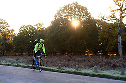 Cyclists in the cold morning frost at Richmond Park as weather in the UK turns to freezing. London, United Kingdom. Tuesday, 19th November 2013. Picture by Ben Stevens / i-Images