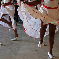 Central America, Cuba, Santa Clara. Cuban Dancers in Skirts.
