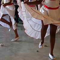 Central America, Cuba, Santa Clara. Cuban Dancers in Skirts.