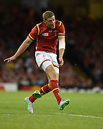 Rhys Priestland of Wales in action. Rugby World Cup 2015 pool A match, Wales v Uruguay at the Millennium Stadium in Cardiff, South Wales  on Sunday 20th September 2015.<br /> pic by  Andrew Orchard, Andrew Orchard sports photography.