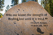 Interpretive stone at Donner Memorial State Park, Truckee, California USA