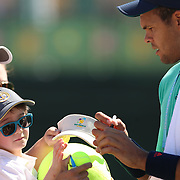 March 18, 2016, Palm Springs, CA:<br /> Jo-Wilfried Tsonga signs autographs during the 2016 BNP Paribas Open at the Indian Wells Tennis Garden in Indian Wells, California Friday, March 18, 2016.<br /> (Photos by Billie Weiss/BNP Paribas Open)