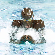 A swimmer competing at the FINA world swim championships in Dubai.<br /> <br /> Slowing the shutter down drags his movement and creates a ghostly image.