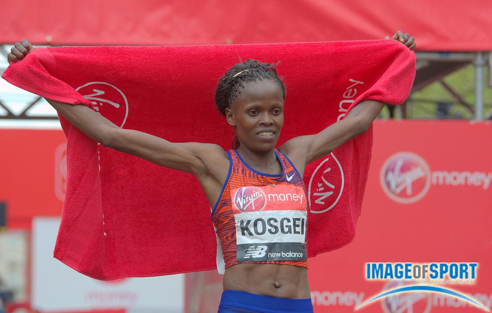 Brigid Kosgei (KEN)  poses after winning the women's race in 2:18:20 in the 39th London Marathon in London, Sunday, April 28, 2019. (Jiro Mochizuki/Image of Sport)