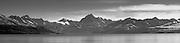 Panoramic view of Aoraki/Mt. Cook, across Lake Pukaki. New Zealand