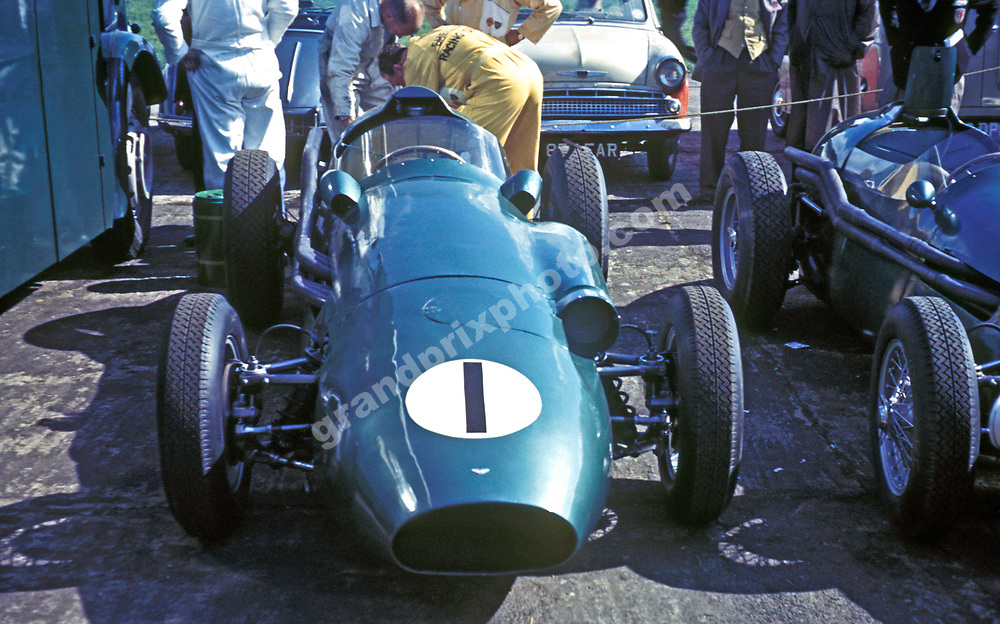The Aston Martin of Ray Salvadori in the pits before the 1959 International Trophy at Silverstone. Photo: Grand Prix Photo