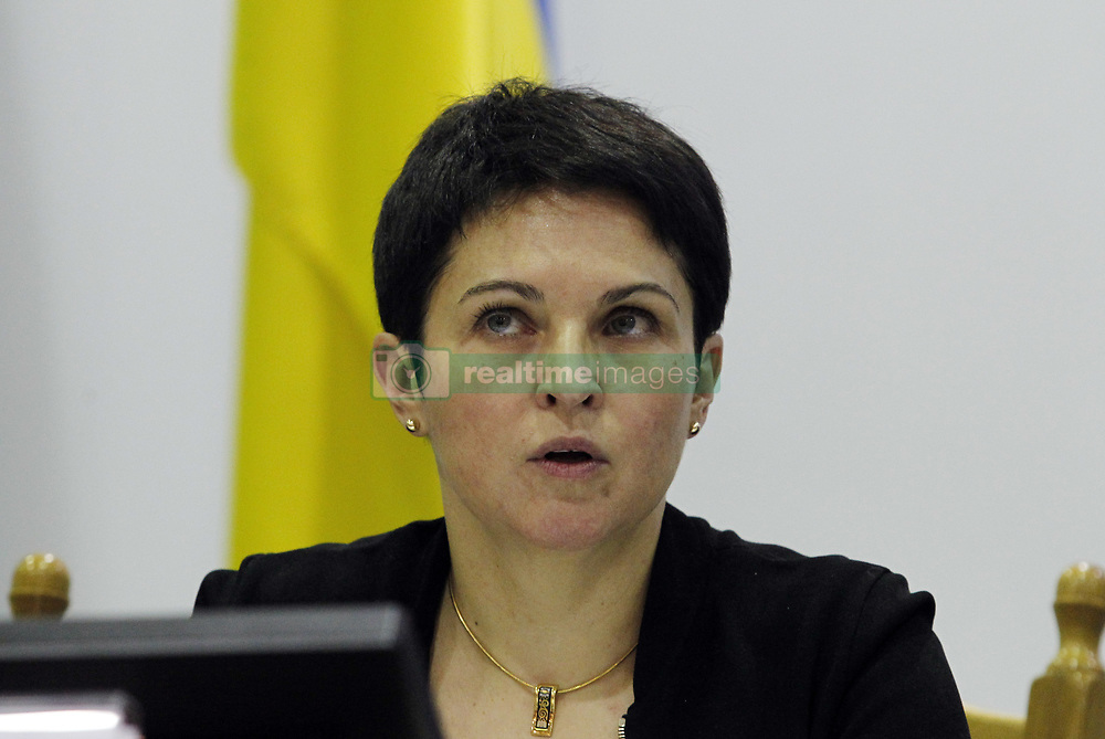 April 30, 2019 - Kiev, Kiev, Ukraine - Head of Ukraine's Central Electoral Commission Tetiana Slipachuk is seen speaking during a session, dedicated to announce the results of the Ukrainian presidential election in Kiev..Ukrainian comic and presidential candidate Volodymyr Zelensky won the Ukrainian presidential election by collecting 73.22 percent of the voters, while the current Ukrainian President Petro Poroshenko, received 24.455 of voters. The second round of the Ukrainian presidential elections was held on April 21, 2019. (Credit Image: © Pavlo Gonchar/SOPA Images via ZUMA Wire)