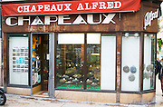 An old hat shop, Chapeaux Alfred. Montpellier. Languedoc. France. Europe.