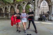 "Chloe Fawkes, 21 (Left in the picture), who works as a waitress from Reading said she became a fan of Jonny Depp since she was five, with the film ""Pirates of the Caribbean."" Along with her twin sister,, Ruby Fawkes 21 (Centre in the picture) they said they're here to support Depp's efforts in the trial with love. <br /> <br /> Chloe and Ruby also met with another young man Jack, 23 (Right in the picture) from London, who works in a bar. Jack said Depp had become his hero since he was eight. ""I enjoy his characters and I relate by similar circumstances in my life,"" he said. Jack also said that he thinks he is funny, but he confirms ""he is not.""<br /> For all three of them, this is the first day to be here. They all think they will be back for the final day. (VXP Photo/ Vudi Xhymshiti)"