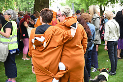 May 29, 2017 - London, England, United Kingdom - Anti fox hunting protesters march through the streets of London on May 29, 2017, to oppose British Prime Minister Theresa May's commitment to hold a free vote on the repeal of the Hunting Act, should the Conservatives Party return to Government after the forthcoming general election on June 8. The ruling Conservative party's manifesto also promised MPs a vote on scrapping a ban on fox hunting, a pursuit unpopular with the electorate but which has the backing of a minority of dedicated Conservative supporters. (Credit Image: © Alberto Pezzali/NurPhoto via ZUMA Press)