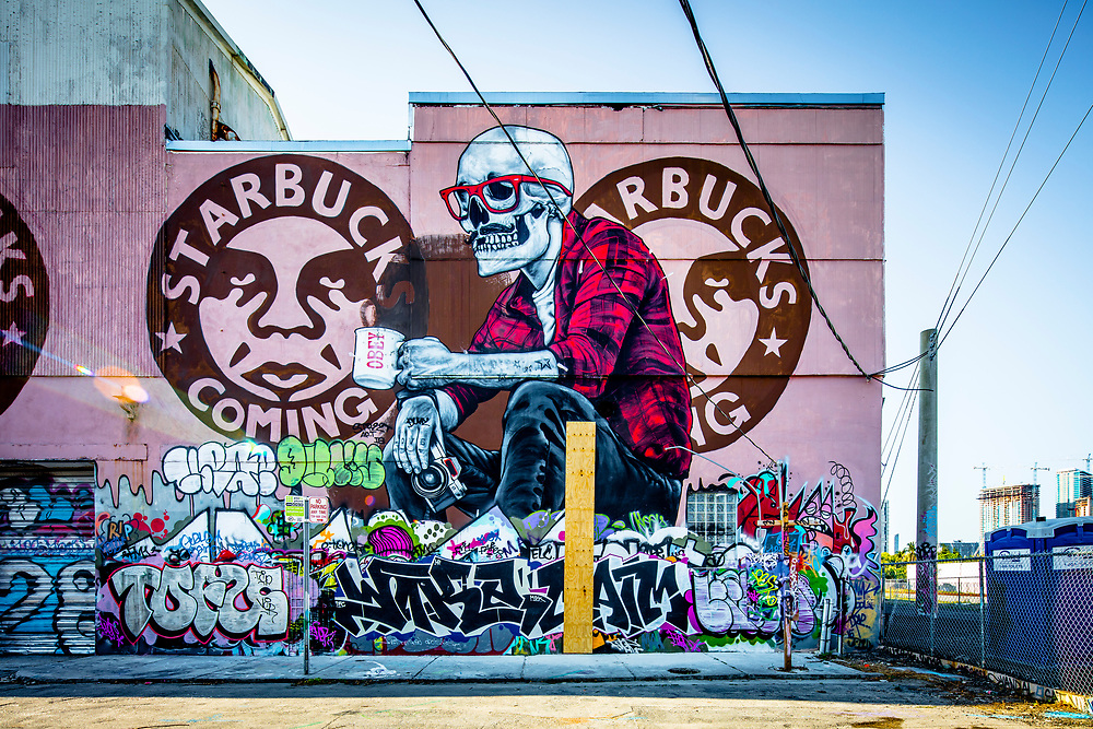 Mural by Shepard Fairey plus graffiti by other street artists