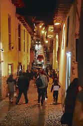 Street Off Plaza De Armas At Night
