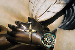 North America, United States, New Mexico, Santa Fe, detail of statue at the Cathedral Basilica of Saint Francis of Assisi.  Statue is of Kateri Tekakwitha (1656-1680), th first Native American to be promoted a Catholic Saint