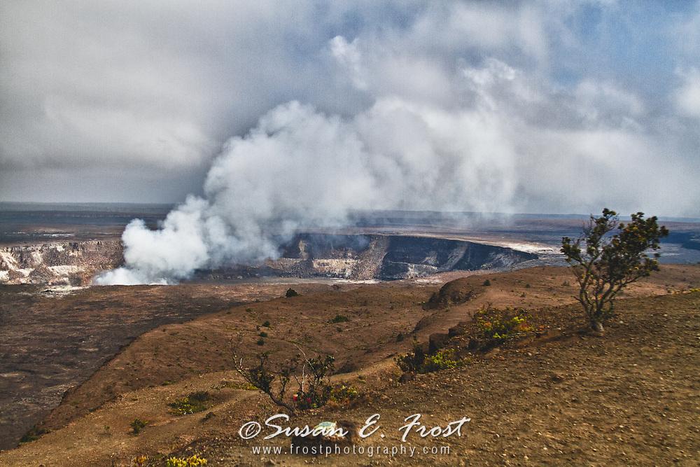 Steam rising at Kilauea Crater, Big Island Hawaii