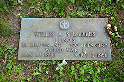 26 August 2017:   A part of the History of McLean County Illinois.<br /> <br /> Tombstones in Evergreen Memorial Cemetery.  Civic leaders, soldiers, and other prominent people are featured.<br /> <br /> Section 16 - Veterans Section<br /> Willis A Stearles<br /> Illinois<br /> 2nd Lieutenant 370 Infantry<br /> Jan 22 1890<br /> April 3 1956