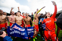 Free to use courtesy of Sky Bet - Wycombe Wanderers celebrate winning promotion to Sky Bet League One - Mandatory by-line: Robbie Stephenson/JMP - 28/04/2018 - FOOTBALL - Proact Stadium - Chesterfield, England - Chesterfield v Wycombe Wanderers - Sky Bet League Two
