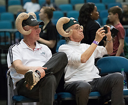 March 20, 2017 - Reno, Nevada, U.S - Reno Bighorn fans sporting their Big Horns during the NBA D-League Basketball game between the Reno Bighorns and the Texas Legends at the Reno Events Center in Reno, Nevada. (Credit Image: © Jeff Mulvihill via ZUMA Wire)