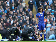 Eden Hazard of Chelsea lies injured during the Premier League match at the Etihad Stadium, Manchester. Picture date: December 3rd, 2016. Pic Simon Bellis/Sportimage