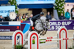 CARRASCO Rodrigo (CHI), Acapulco FZ<br /> Göteborg - Gothenburg Horse Show 2019 <br /> Longines FEI Jumping World Cup™ Final<br /> Training Session<br /> Warm Up Springen / Showjumping<br /> Longines FEI Jumping World Cup™ Final and FEI Dressage World Cup™ Final<br /> 03. April 2019<br /> © www.sportfotos-lafrentz.de/Stefan Lafrentz