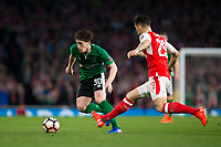 Lincoln City's Alex Woodyard evades the challenge of Arsenal's Granit Xhaka        <br /> <br /> <br /> Photographer Craig Mercer/CameraSport<br /> <br /> The Emirates FA Cup Sixth Round - Arsenal v Lincoln City - Saturday 11th March 2017 - The Emirates - London<br />  <br /> World Copyright © 2017 CameraSport. All rights reserved. 43 Linden Ave. Countesthorpe. Leicester. England. LE8 5PG - Tel: +44 (0) 116 277 4147 - admin@camerasport.com - www.camerasport.com