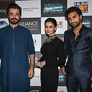 """Hamza Ali,Hania Amir and Ahad Raza Mir star of the movie attend Photocall in London Premiere of """"Parwaaz Hai Junoon"""" (Soaring Passion) as featured on SKY, ITV at The May Fair Hotel, Stratton Street, London, UK. 22 August 2018."""