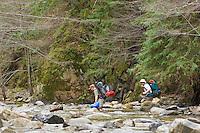 Hikers cross the cold Big Sur River on Pine Ridge Trail, Big Sur, California.