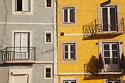 Ceramic tiles facade at Alfama district in Lisbon.
