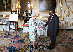 April 17, 2018 - Windsor, United Kingdom - Image licensed to i-Images Picture Agency. 17/04/2018. Windsor, United Kingdom. Queen Elizabeth II receives the South African President Cyril Ramaphosa during an audience at Windsor Castle, United Kingdom. (Credit Image: © Rota/i-Images via ZUMA Press)