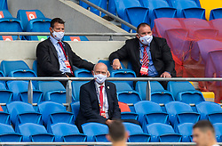 CARDIFF, WALES - Sunday, September 6, 2020: Wales' head of public affairs Ian Gwyn Hughes (C) and security team Rhys Davies (L) and Grant Gadziala and during the UEFA Nations League Group Stage League B Group 4 match between Wales and Bulgaria at the Cardiff City Stadium. (Pic by David Rawcliffe/Propaganda)